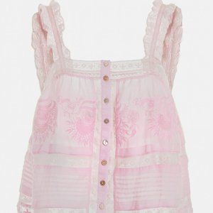 Loveshackfancy pink sully cami top blouse S